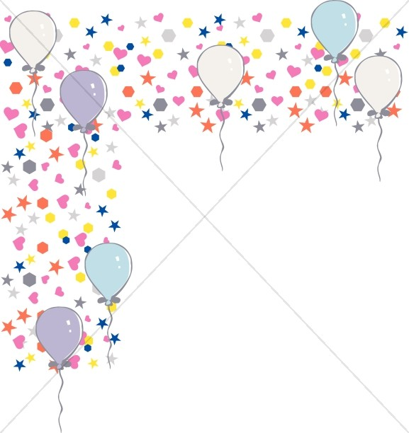 Birhgt little Shapes and Birthday Balloons Corner