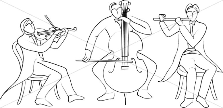 Trio Of Classical Musicians Line Art