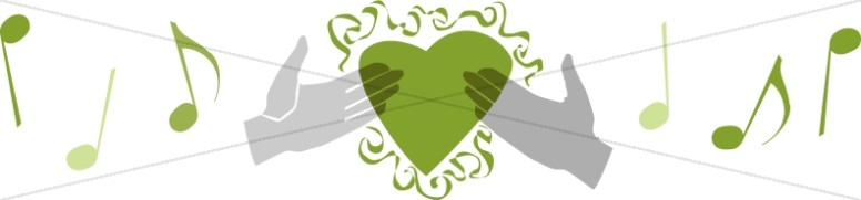 Green Music and Hands Holding Heart