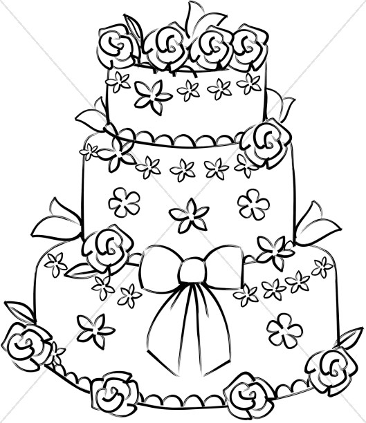 Rose Decorated Wedding Cake