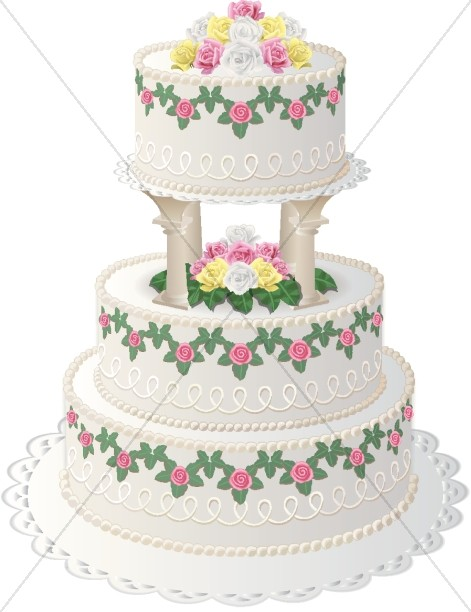 wedding cakes with columns floral cake with top tier on columns christian wedding 26007