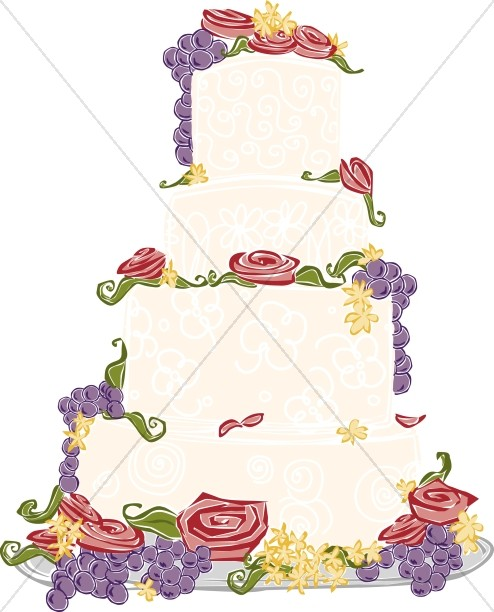 Four Tier Wedding Cake with Fruit and Roses