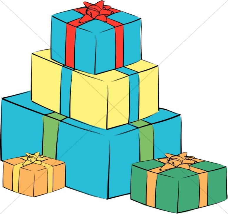Stack Of Bright Gift Boxes Church Birthday Clipart