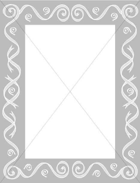 Gray Border with Ribbon Swirls