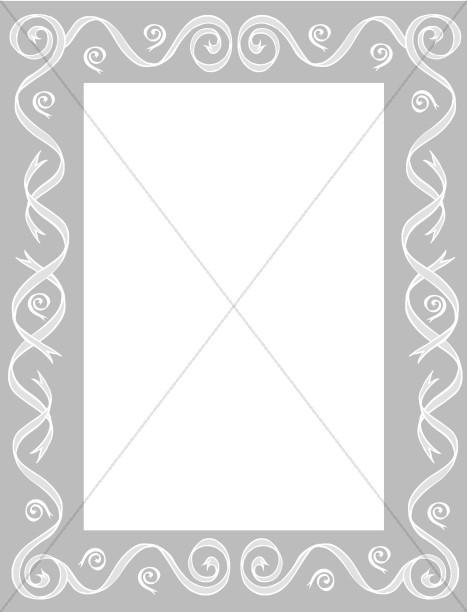 Gray Border with Ribbon Swirls