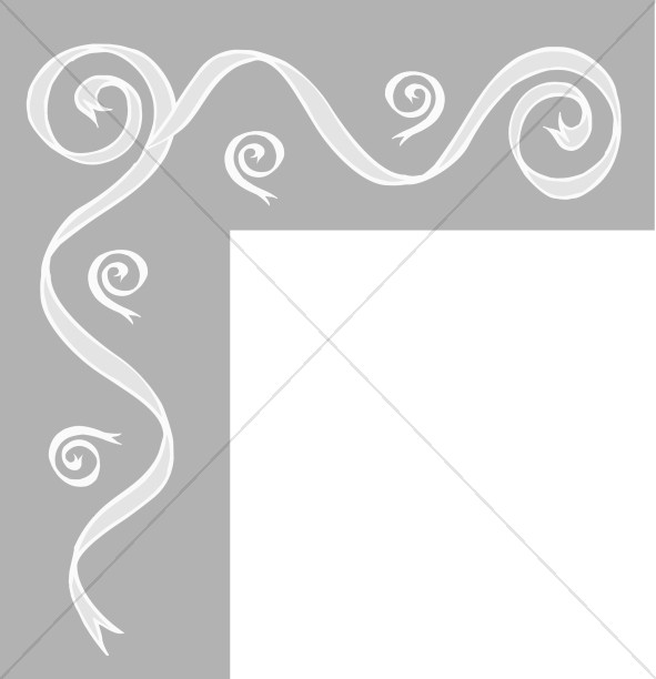 Gray Bar with Ribbon Swirls Corner