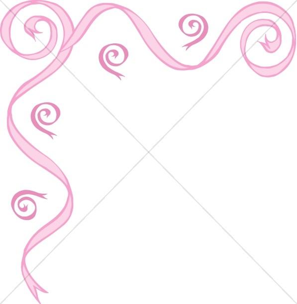 Pink Ribbon Swirl Upper Left Corner