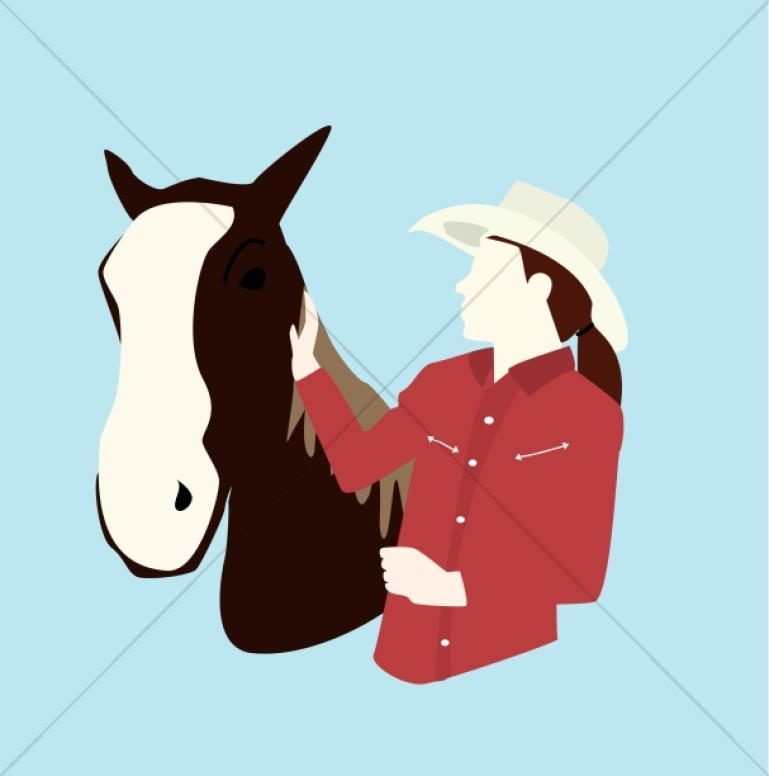 Stylized Horse and Owner