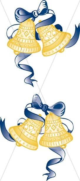 Blue Ribbon Bells Page Decoration