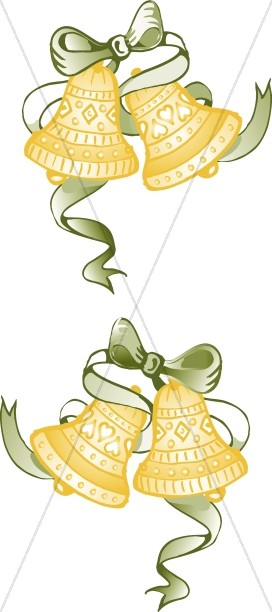 Green Ribbon Bells Page Decoration