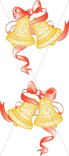 anniversary bells with red ribbon church bell clipart