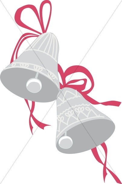 Silver Bell Ornaments with Red Ribbon