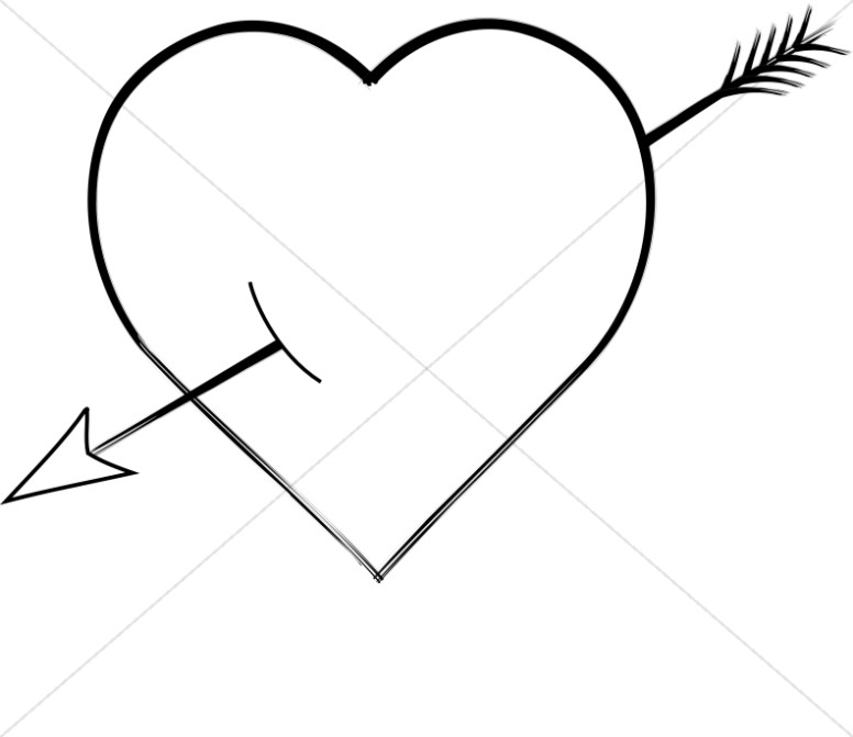 Brushstroke Heart With Arrow Shot Through Valentines Day Clipart