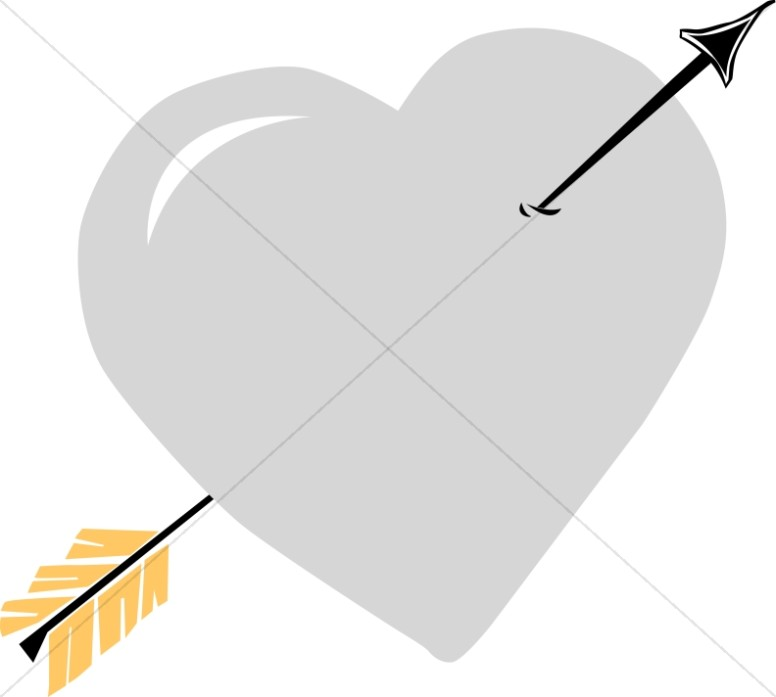 Silver Heart with Black Arrow