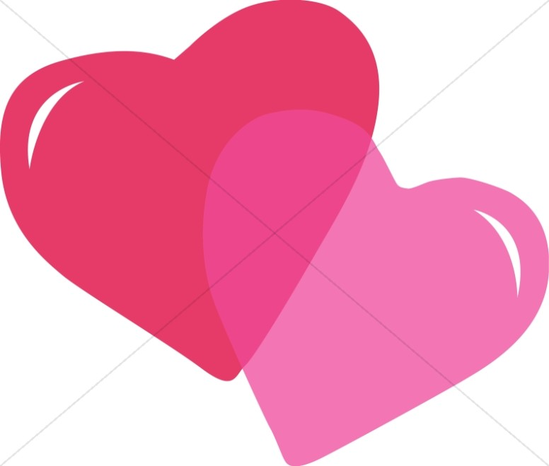 Pink and Red Stylized Hearts