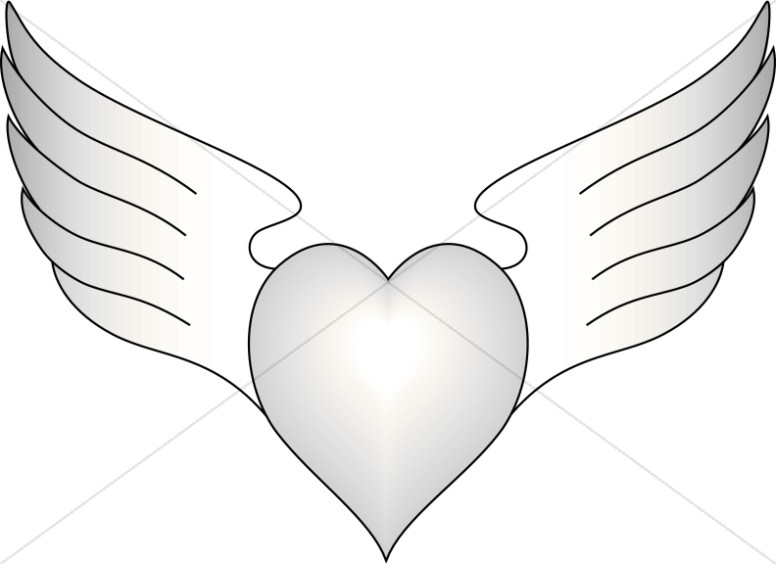 Outlined Heart with Wings