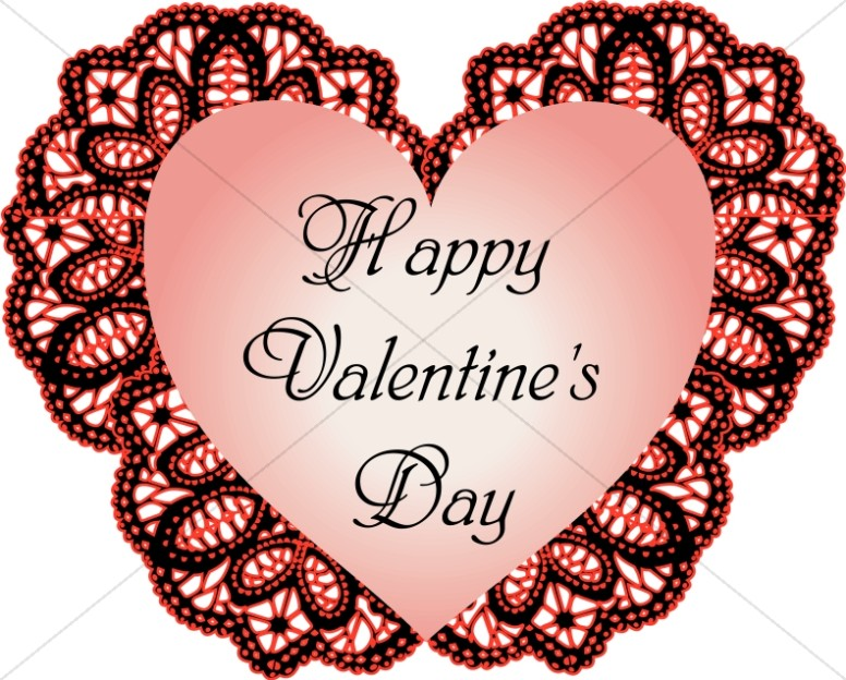 Happy Valentine's Day Script on Heart Lace Backing