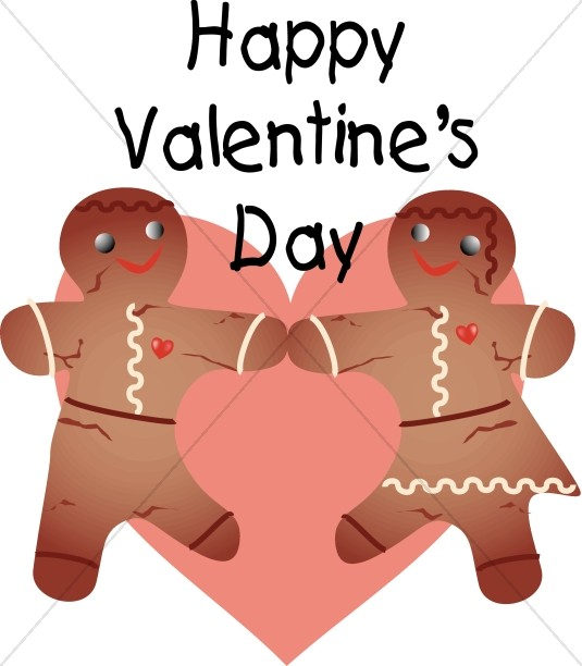 Sweet Gingerbread Couple Happy Valentine's