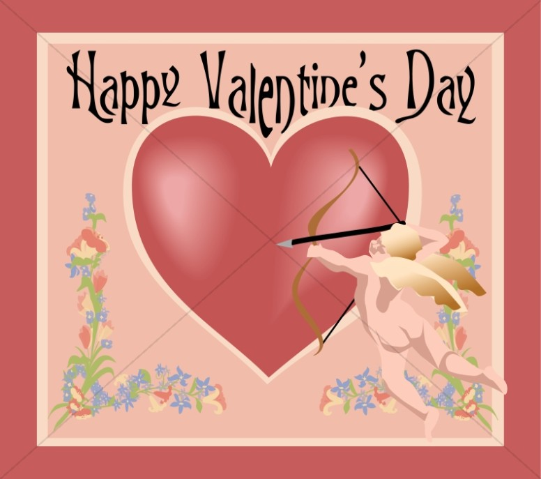 Happy Valentine's Day with Cupid and Heart