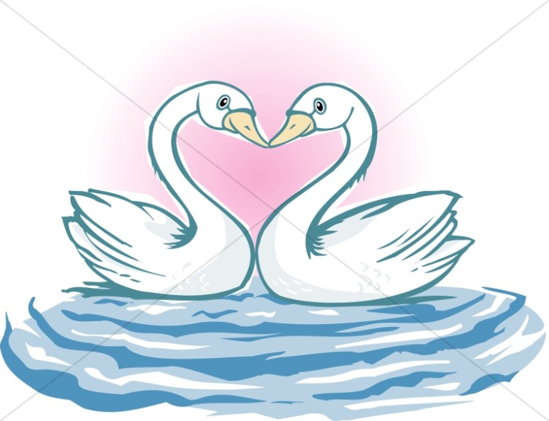Swan Lovebirds form Heart