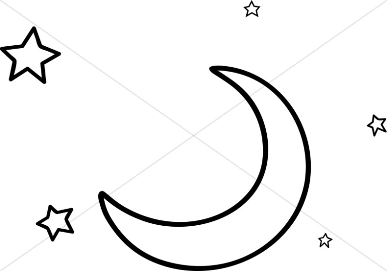 Line Art Moon and Stars