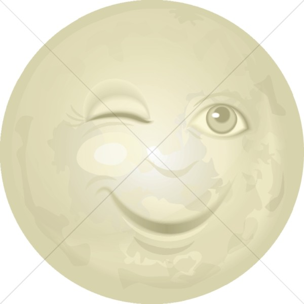 Man in the Moon Winking | Moon Clipart