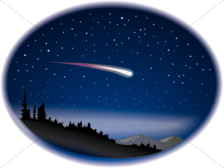 Shooting Star on Night Sky