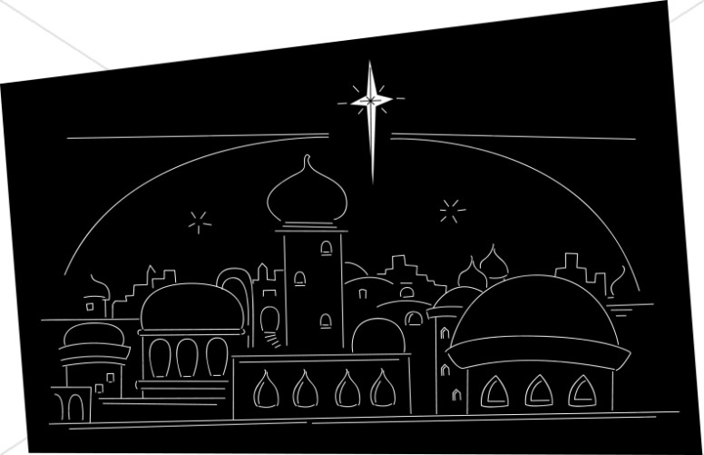 Star Ove rthe Town of Bethlehem Line Art