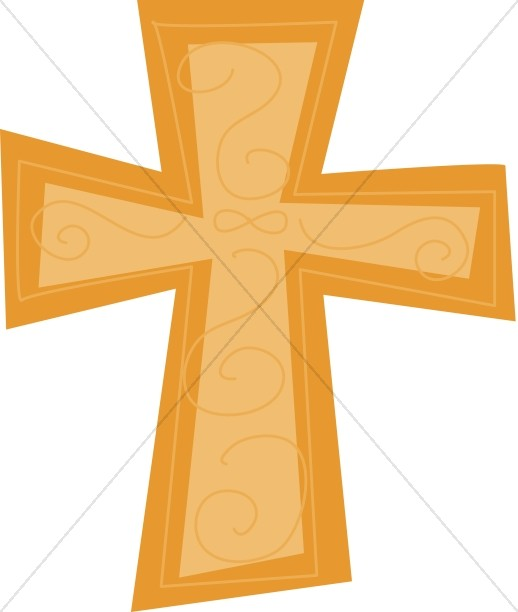 Cross outline gold. Stylized clipart