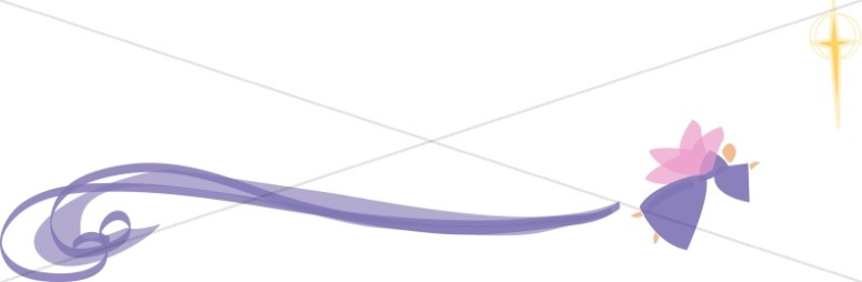 Stylized Purple Swirl Angel with Cross
