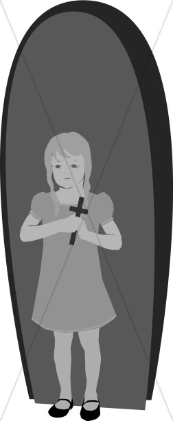 Grayscale girl with Cross in Archway