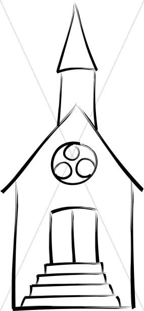 brushstroke outline church