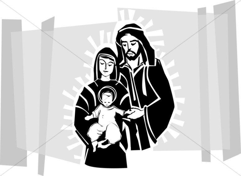 Jesus Mary and Joseph  Nativity Clipart