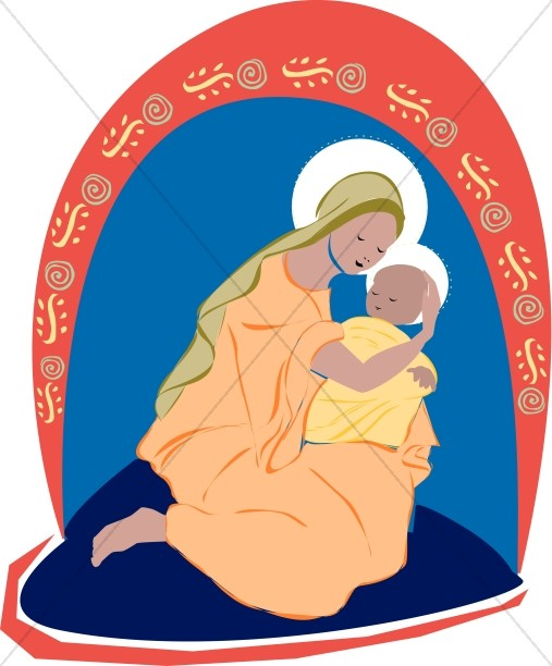 Mary holds Baby Jesus close