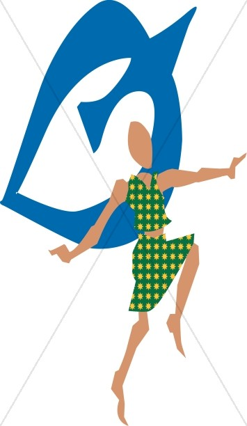 Abstract Christian Dancer with Dove Symbol