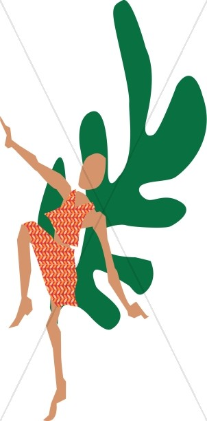 Abstract Christian Dancer with Green Leaf