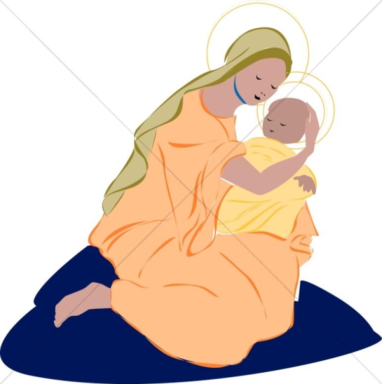 Mary Cradles Baby Jesus