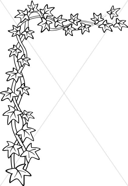 Black and White Ivy Upper Left Cornerpiece