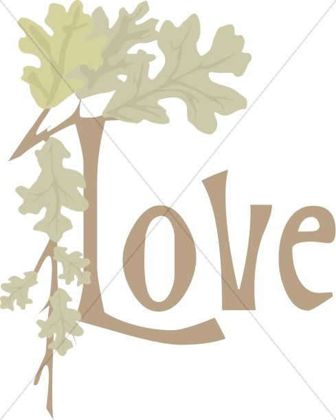 Oak Branch and Leaves Love