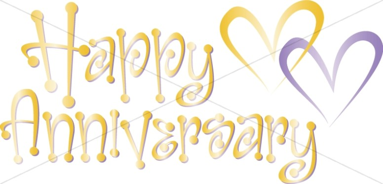 Cute Happy Anniversary  Wordart with Hearts