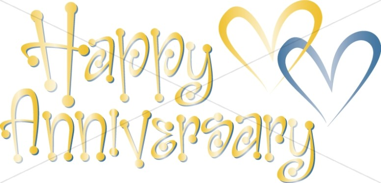 Cute Blue and Gold Happy Anniversary Wordart wioth Hearts