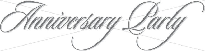 Flowing Script Anniversary Party Wordart