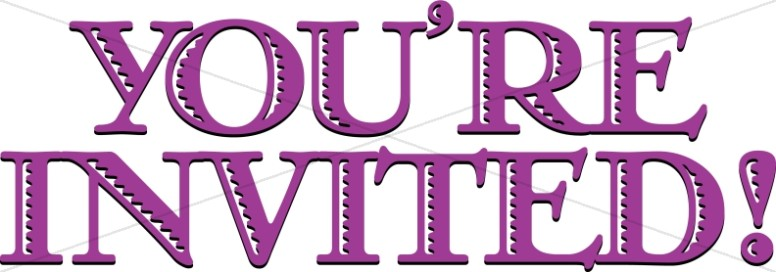 Purple You're Invited Banner