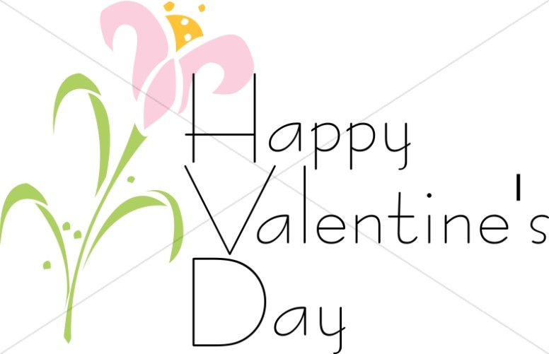 Happy Valentine's Day with Abstract Pink Flower