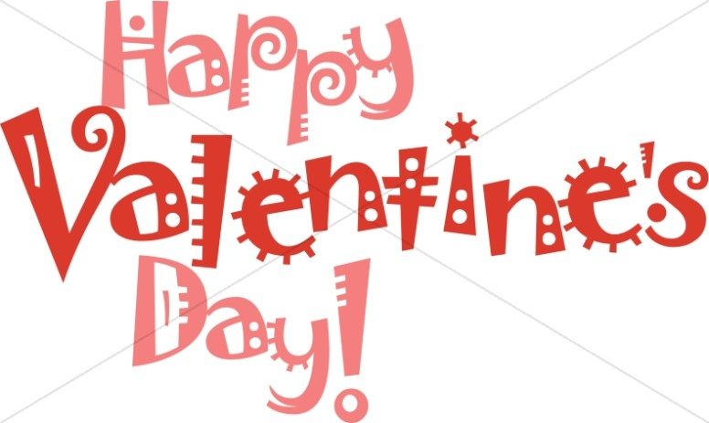 Fun Font Happy Valentine's in Pink and Red