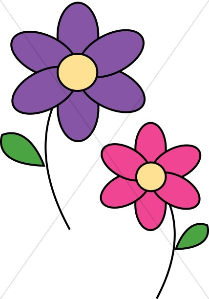 Purple Cartoon Flower Clipart