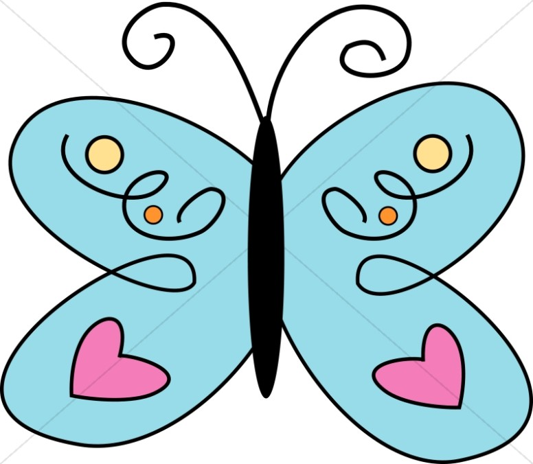 Blue Butterfly with Pink Hearts