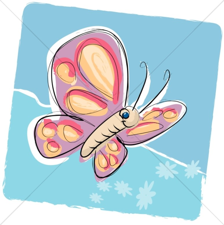 Smiling Cartoon Butterfly