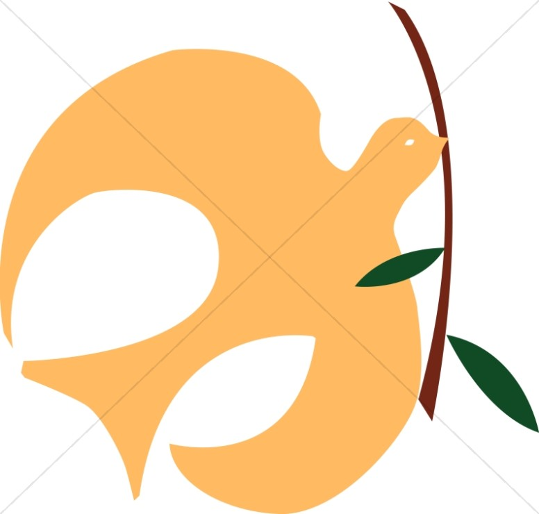 Gold Dove with Olive Branch