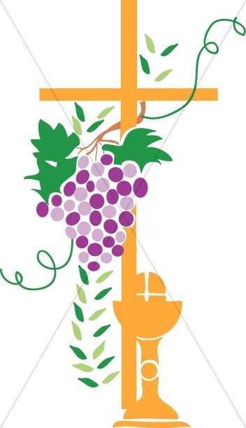 Grapevine wrapped Cross With Communion Elements